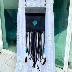 Black Genuine Leather Fringe & Feathers Crossbody
